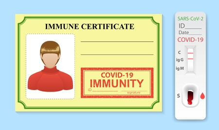 Immune certificate in form of card and rapid test for antibodies coronavirus. Working ID for person is immune to virus SARS disease. Risk free badge for COVID 19. Vector illustration.