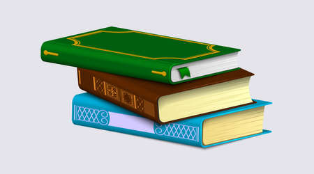 A stack of books isolated on a white background. Colorful patterned spines and bookmarks on realistic bestseller. Vector illustration.