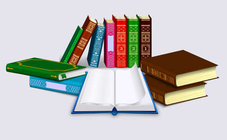 Open book with blank pages and dump of Different books in rows and piles. Isolated on a light background. Vector illustration