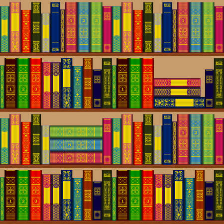 Bookcase with rows and stacks of books on shelves. Seamless repeating pattern. Vector illustration.