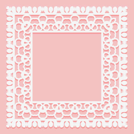 White lace frame of square shapes. Openwork vintage elements isolated on a pink background. Vector illustration.