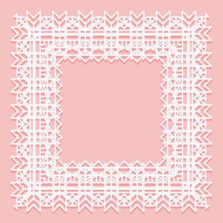 White lace frame of square shapes. Openwork edges of the napkin isolated on a pink background. Vector illustration.