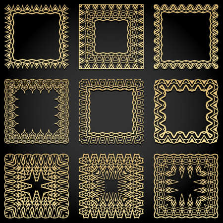 Square frames collection. Trendy golden Art Deco style design elements. Retro geometric lines Isolated on black background. Vector illustration