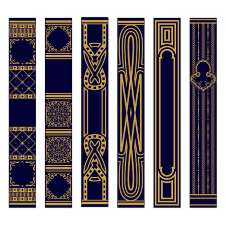 Set of Vertical spines of books ornament. Samples of roots of the book. Luxury gold and blue pattern. Vector illustration Vektorgrafik