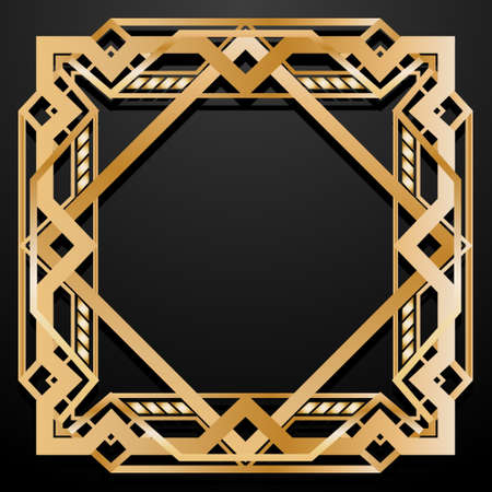 Luxury square retro pattern for vintage party Gatsby style. Art Deco frame. Gold geometric background 1920 s lifestyle. Vector illustration.