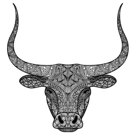 Head of bull. Ornamental longhorned Buffalo or bison symbol of new new year 2021. Black and white concept. Vector illustration.