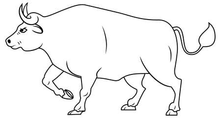 Line drawing of Simple bull. Buffalo with the front leg raised for conservation national park or an agricultural farm  identity. Silhouette of bull is a symbol of 2021 new year. Vector illustration.