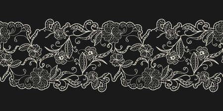 White lace on a black background. Horizontal seamless pattern. Openwork ribbon border. Vector illustration.