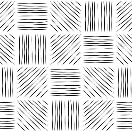 Seamless pattern of hatched squares. Black lines on a white background. Vector illustration. 矢量图片