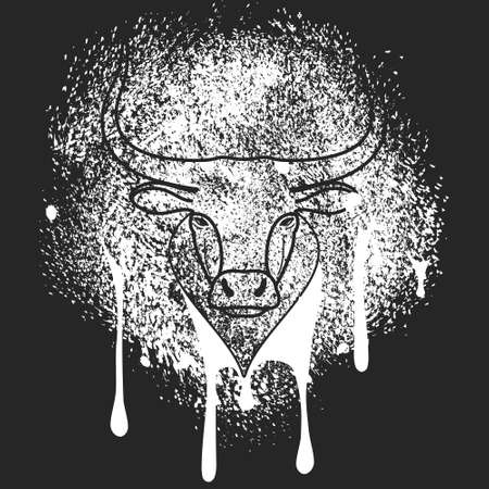 Head and face of bull stencil spray paint on the wall. Graffiti art stylization. Black and white monochrome sketch. Vector illustration