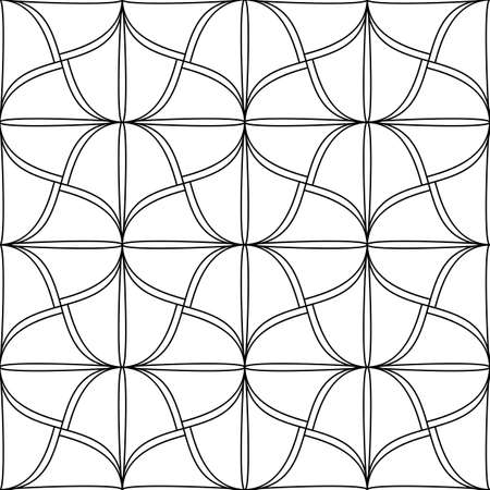 Seamless pattern in form of stained glass. Linear background drawing, zenart dudling for coloring book, simple Black and white design. Vector illustration. Illusztráció