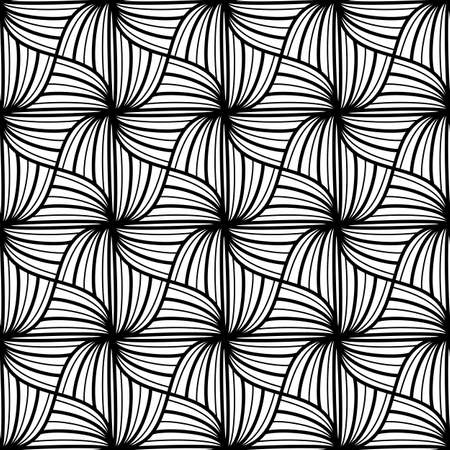 Seamless pattern with Wavy lines. Monochrome geometric texture. Abstract background. Grid with striped squares. Dudling art for coloring book, simple Black and white design Vector illustration. Ilustracja