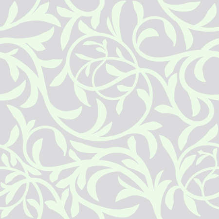 Floral Seamless Pattern Background. Intertwined twigs tree Liana with leaves For Christmas and wedding Invitation cards decoration. Monochrome gray and white pattern. Vector illustration.