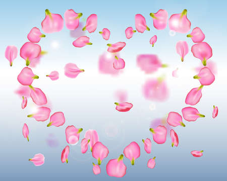 Falling pink petals from a rose or peony in the shape of a heart on background blue sky. Romantic frame design for love cards, congratulations, weddings, Valentines Day. Vector Illustration Çizim
