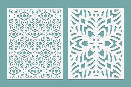 Die and laser cut Ornamental panels with snowflakes pattern. Laser cutting lace borders. Invitation and Greeting card templates. For laser or plotter cutting or printing serigraphy Vector illustration