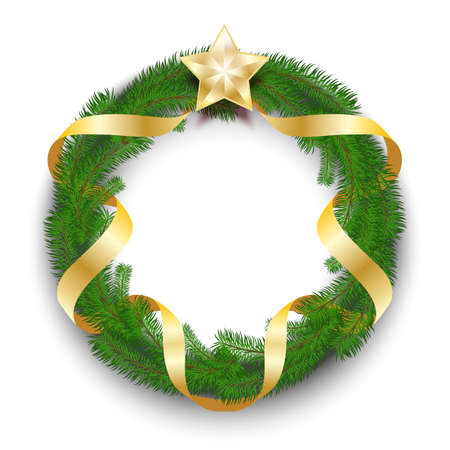 Green Christmas wreath of fir branches intertwined with a golden satin ribbon with a single golden star isolated on a white background. Realistic 3D decor. Vector illustration Vettoriali
