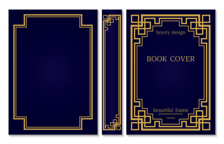 Vintage book cover design on white