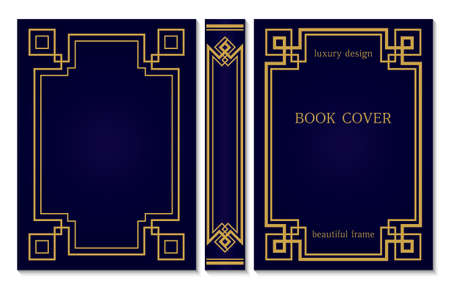 Geometric design of the book cover and spine. Back and front cover in art Deco style. Ornate gold frame on blue background. Vintage Border to be printed on the covers of books. Vector illustration