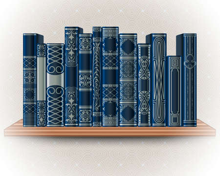 Collection of blue books on a bookshelf on a background of light wallpaper. Ornate book spines with space for text. Vector illustration Vektorgrafik