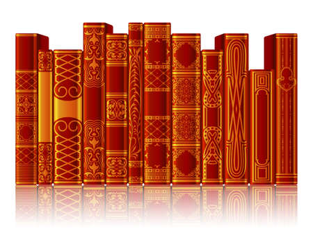 Collection of red and gold books with reflection isolated on white background. Ornate book spines with space for text. Vector illustration Vektorgrafik