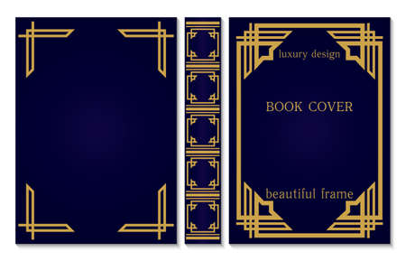 Classical book cover and spine design. Old retro ornament frames. Decorative vintage borders to be printed on the covers of books. Vector illustration Vektoros illusztráció