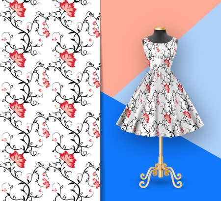 Seamless pattern of pink and red flowers on classic womens dress mockup and black mannequin. Hand-drawn ornate pattern with an example of application. Clothes realistic 3d mock up. Vector illustration