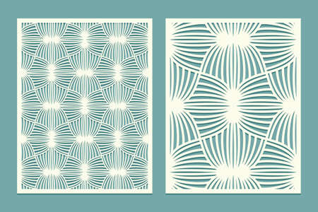 Die and laser cut screen panels with doodling pattern. Laser cutting decorative geometric linear borders ornament. Set of Wedding Invitation or greeting card templates. Vector illustration
