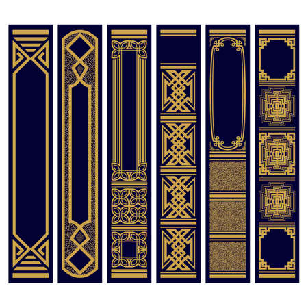 Set of Vertical ornaments for spines of books Samples patterns of roots of the book. Luxury gold on blue. Vector illustration