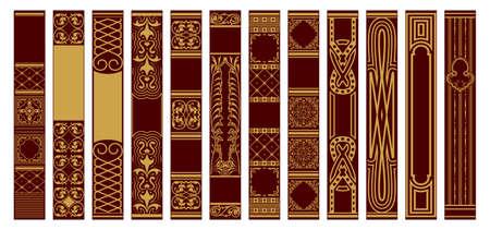 Set of Spines Books. Samples for design templates. Retro vertical frames. Vintage ornament. Golden ornament on a red background. Vector illustration.