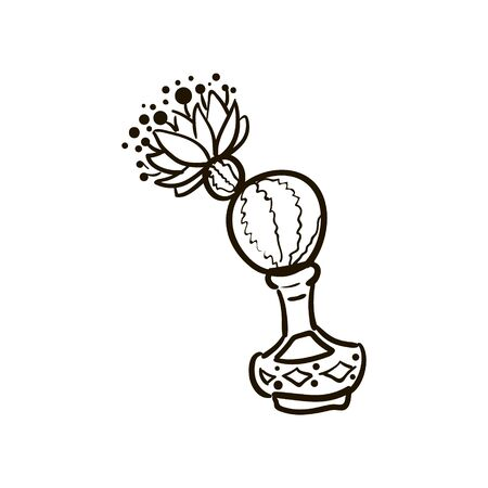 Illustration of cactus, cactus spiny ball in a bottle with flower, sketch