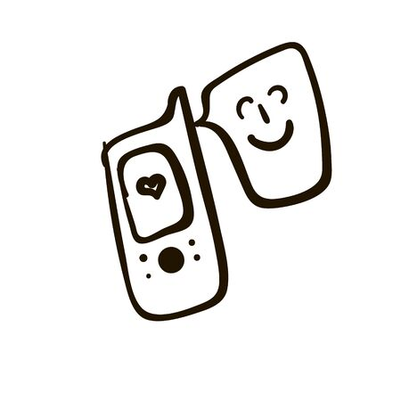 Illustration of a phone with a nice message, a telephone with a smiley, a smiley on the phone, a joyful phone