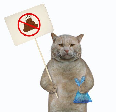 The cat holds a blue plastic bag with poop and a sign that says