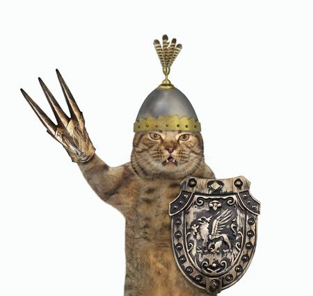 The beige cat knight in a helmet with feathers is armed with a shield with a dragon and a claw glove. White background. Isolated. 版權商用圖片