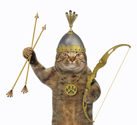 The cat warrior archer in a helmet with feathers holds a bow and arrows. White background. Isolated.