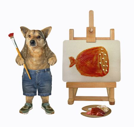 The beige dog artist with a paintbrush is painting a piece of sausage on a canvas which is placed on an easel. He uses mayonnaise and ketchup instead of paints.