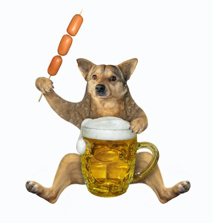 The beige dog is eating a sausage skewer and drinking beer from a mug. White background. Isolated.