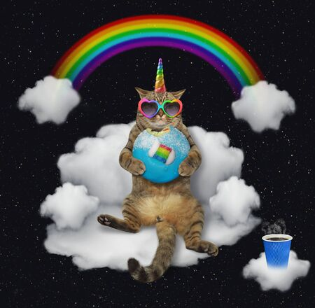 The beige cat unicorn in rainbow heart shaped sunglasses with a blue bitten donut is sitting on the cloud sofa under the rainbow at night. Stars background.
