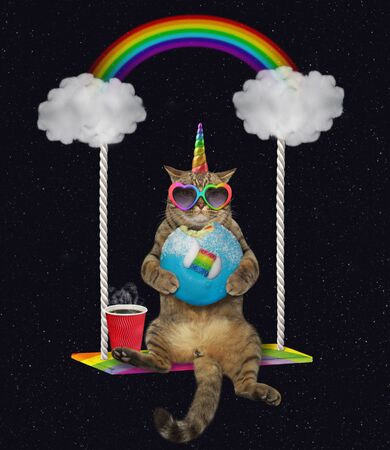 The beige cat unicorn in rainbow heart shaped sunglasses with a blue bitten donut and a cup of coffee is riding on the cloud swing at night. Stars background.