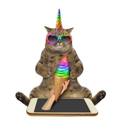 The cat unicorn in heart shaped sunglasses is taking a ice cream cone from the phone. White background. Isolated.