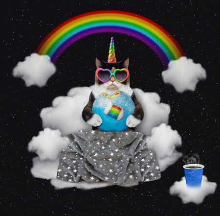 The multicolored cat unicorn in rainbow heart shaped sunglasses with a blue bitten donut is sitting on the cloud sofa under the rainbow at night. Stars background.