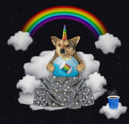 The beige dog unicorn with a blue bitten donut is sitting on the cloud sofa under the rainbow at night. Stars background.