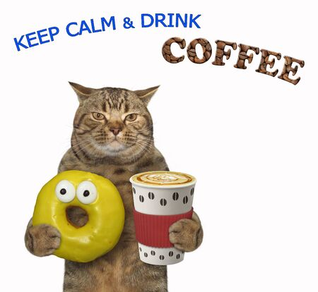 The beige cat is holding a red paper cup of black coffee and a pink bitten donut. Keep calm and drink coffee. White background. Isolated.
