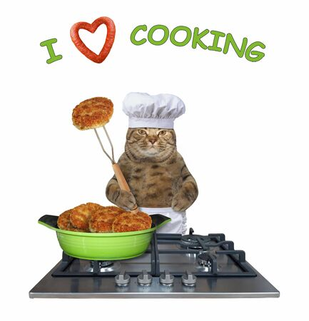 The beige cat in a chef hat is standing near a gas stove on which there is a frying pan with fried meat cutlets. I love cooking.White background. Isolated.