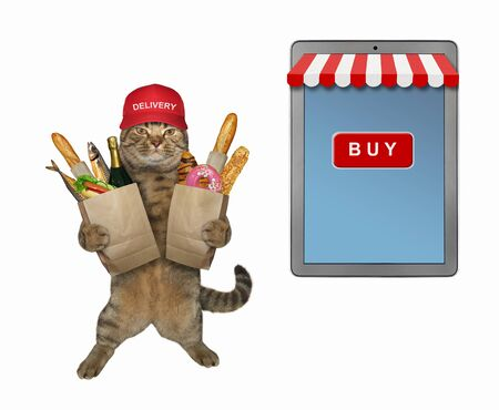 The beige cat courier in a red cap is delivering paper bags with groceries. He is near a big tablet pc computer. White background. Isolated. Archivio Fotografico