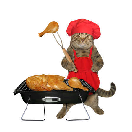 The beige cat in a red chef hat and apron is cooking grilled chicken legs. White background. Isolated.