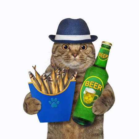The beige big eyed cat in a hat is holding a blue paper box of smoked fish and a bottle of beer. White background. Isolated. Stock fotó