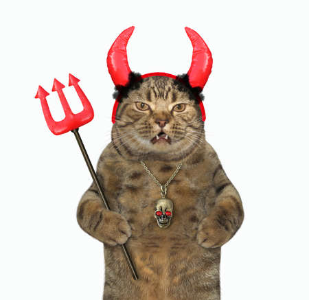 The beige cat in red horns is holding a devil trident for Halloween. White background. Isolated.