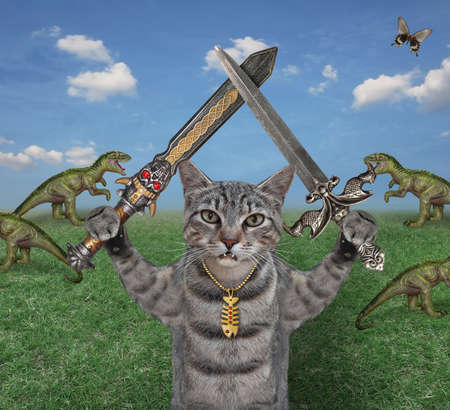 A gray cat warrior with two crossed swords stands near a herd of rexes in the meadow.
