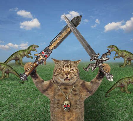 A beige cat warrior with two crossed swords stands near a herd of rexes in the meadow. Stock Photo