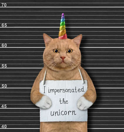 A reddish cat was arrested. He has a sign around its neck that says I impersonated the unicorn. Police lineup background.